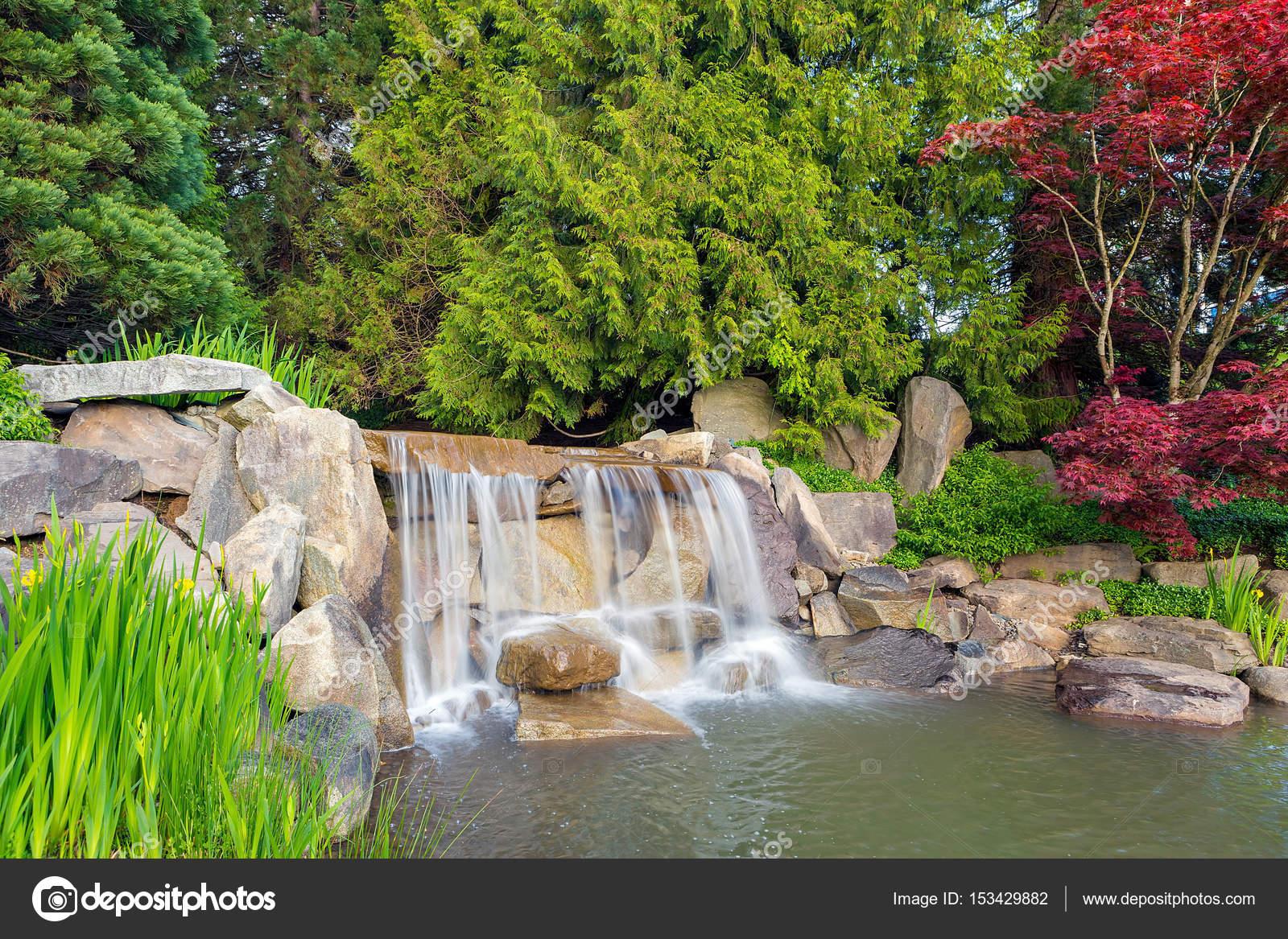 Jard n paisaje con cascada y rboles foto de stock - Cascada de jardin ...