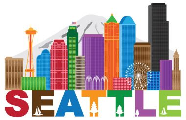Seattle City Skyline andText Colors vector llustration