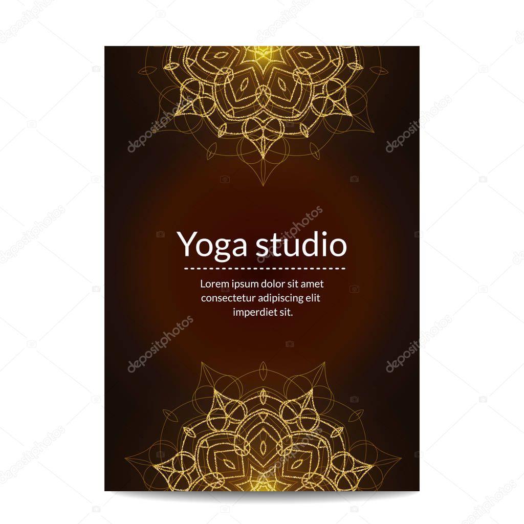 Yoga studio banner with gold glitter mandalas