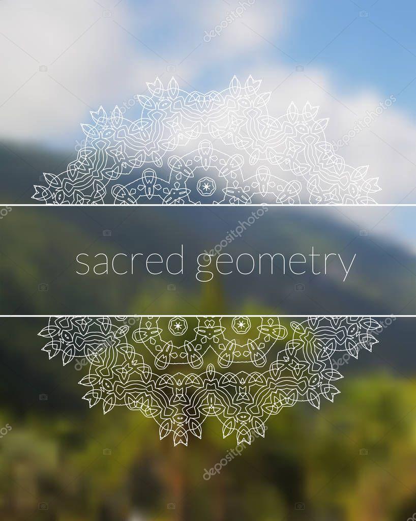 Boho sacred geometry mandala on tropic background