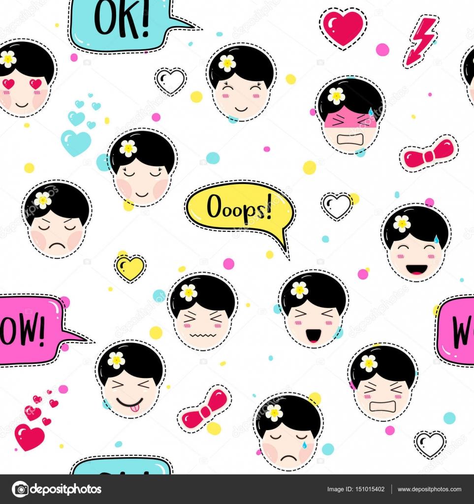 Emoji Wallpaper For Girls Anime Style Seamless Pattern