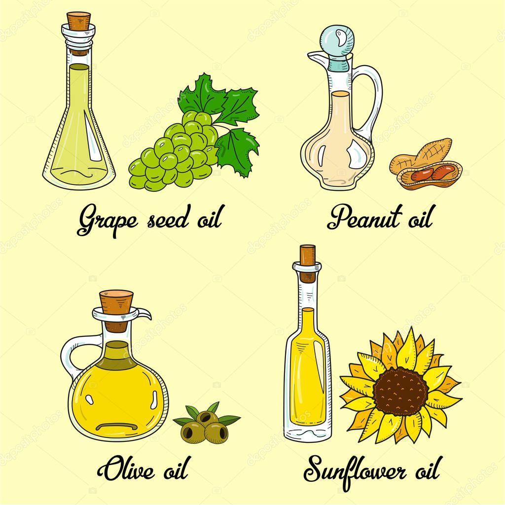 4 cooking oils in cute sketchy bottles