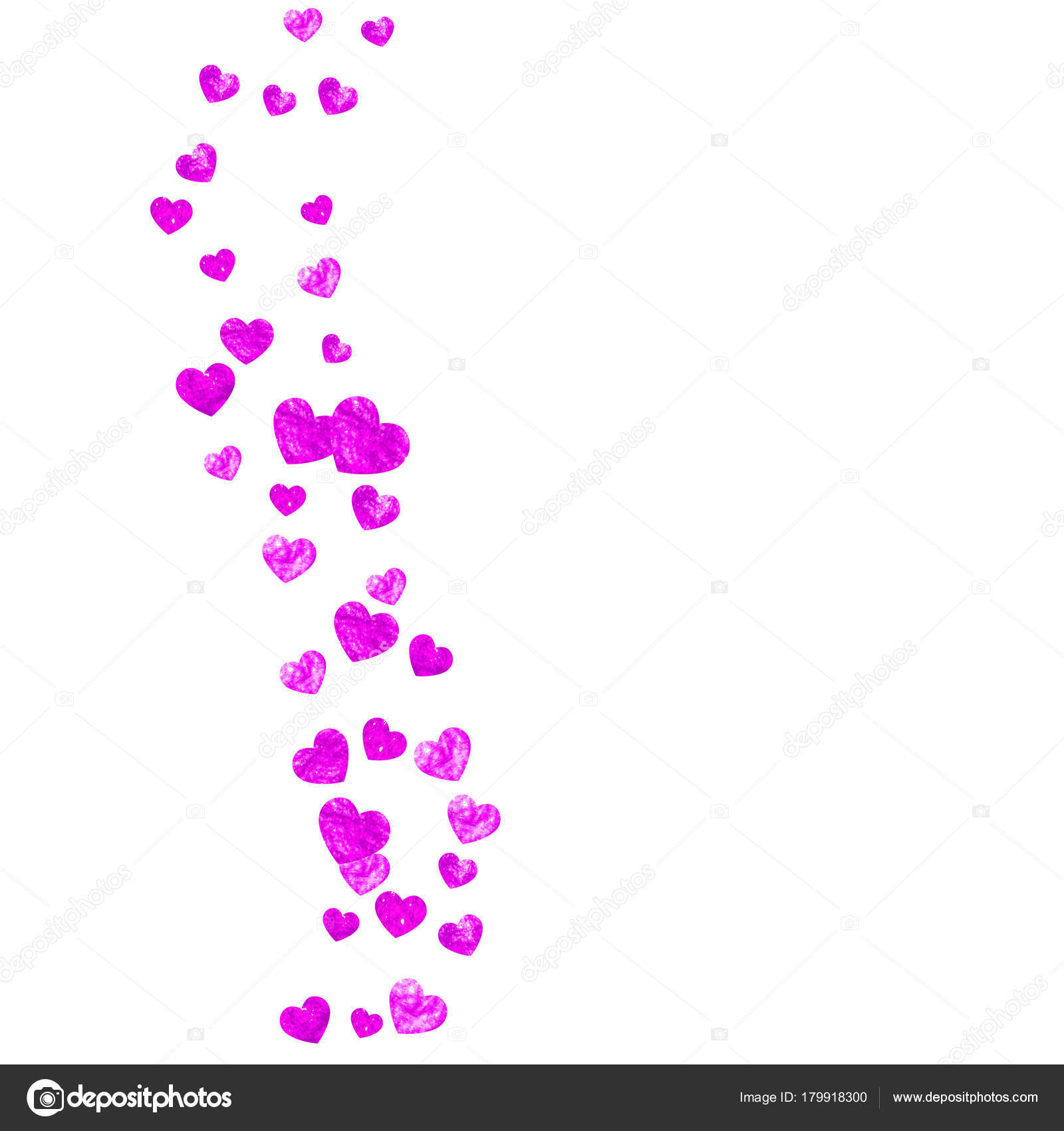 Valentine background with pink glitter hearts. February 14th day ...