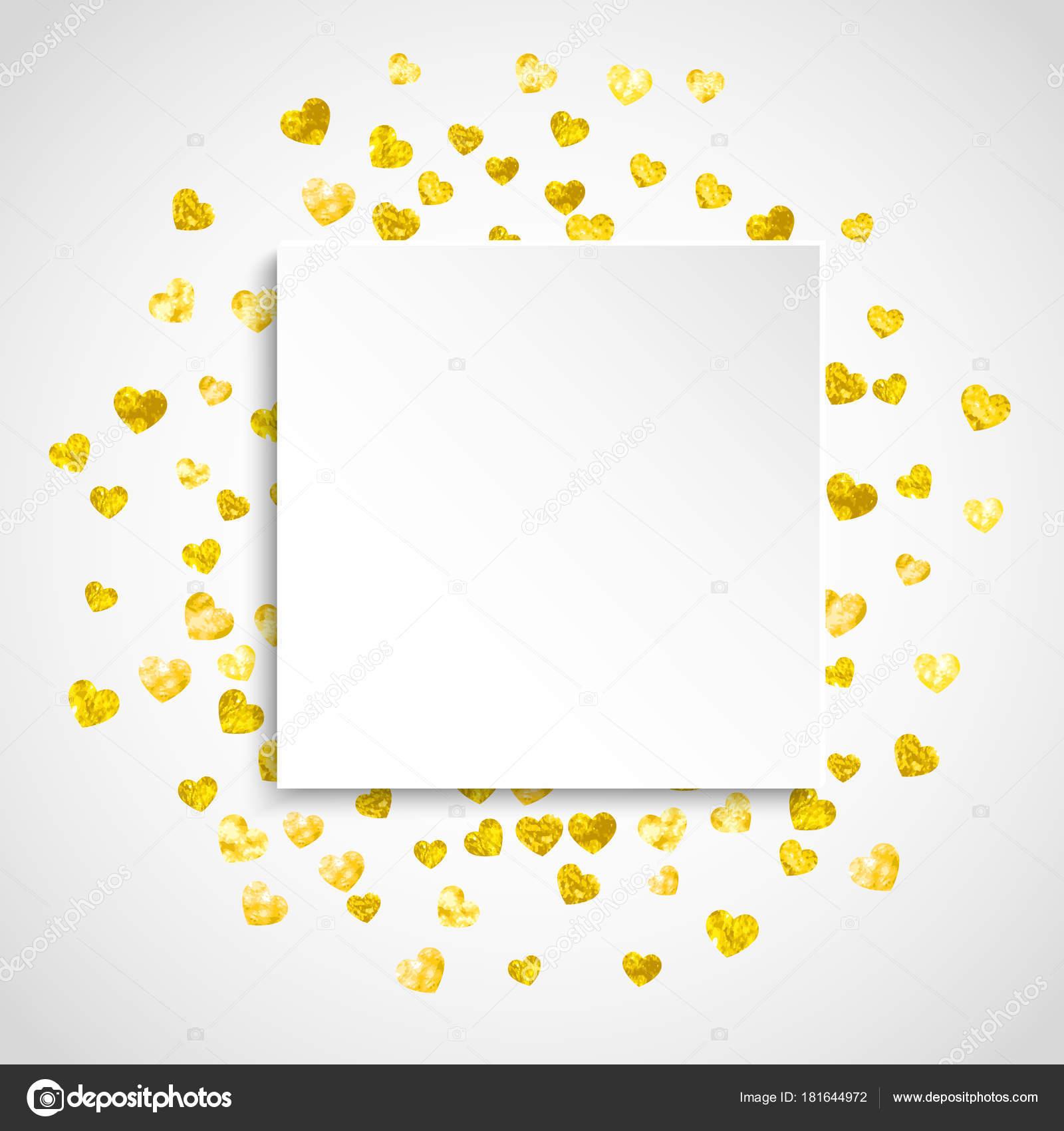 Valentines Papier Rahmen mit gold-Glitter Herzen. Februar 14. Tag ...
