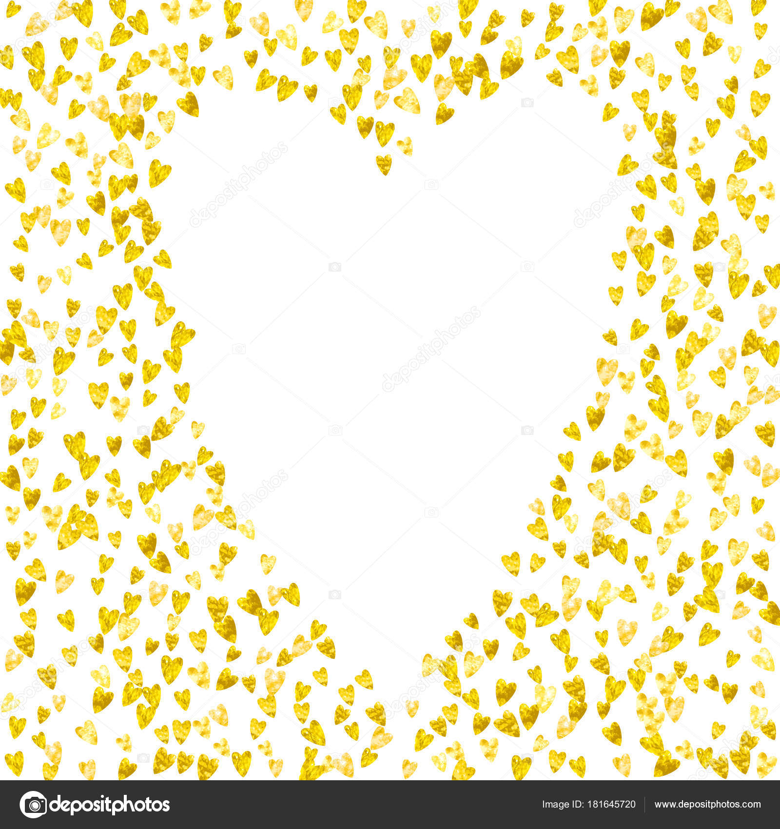 Heart Border For Valentines Day With Gold Glitter February 14th Vector Confetti Template Grunge Hand Drawn Texture
