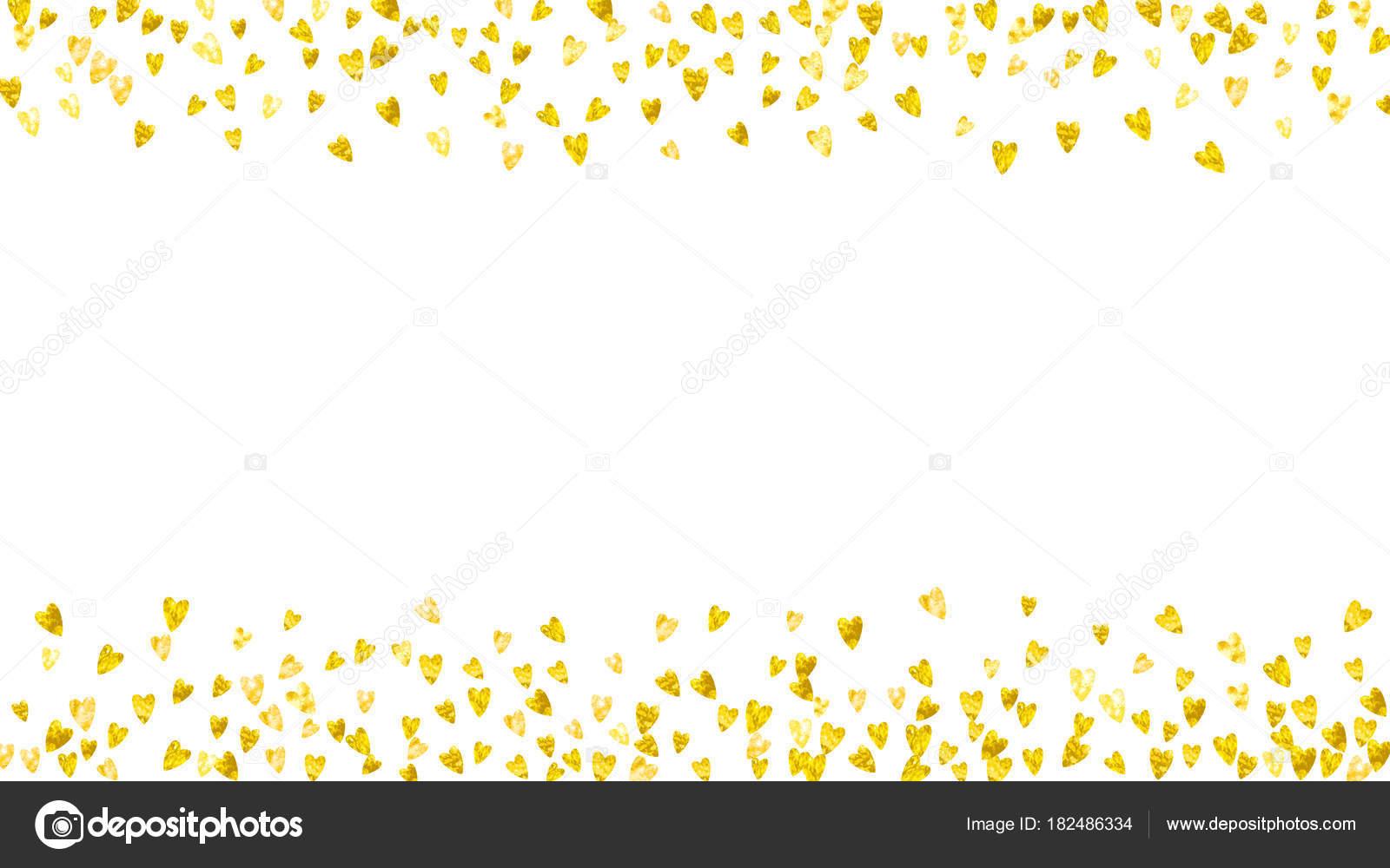 Fondo de San Valentín con corazones de oro brillo. Día 14 de febrero ...