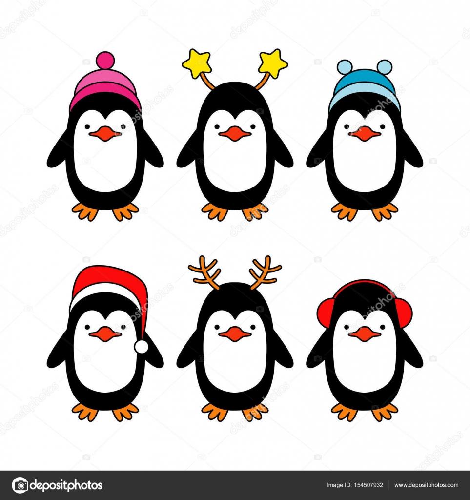 Dibujos Pinguinos Navideños Para Imprimir Vector Tarjeta De
