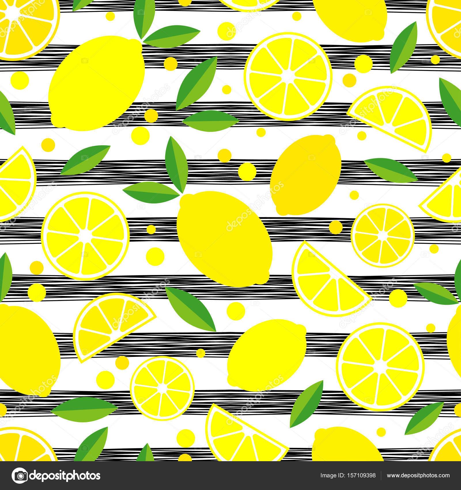 Nahtlose Muster mit dekorativen Zitronen. Tropische Früchte. Textil ...