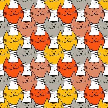Seamless pattern with Hipster Cute Cats. Funny lovely Cats. Cloth design, wallpaper. Textile rapport.