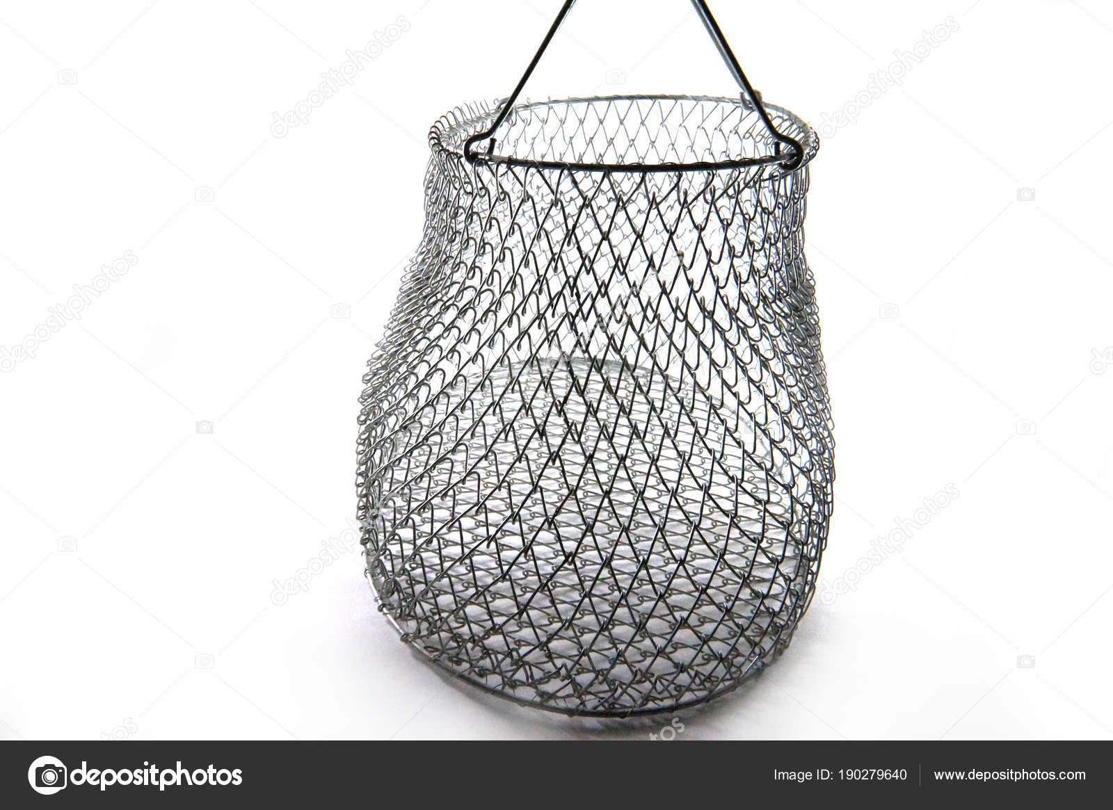 Vintage Metal Wire Basket Vintage Wire Basket White Background Close ...