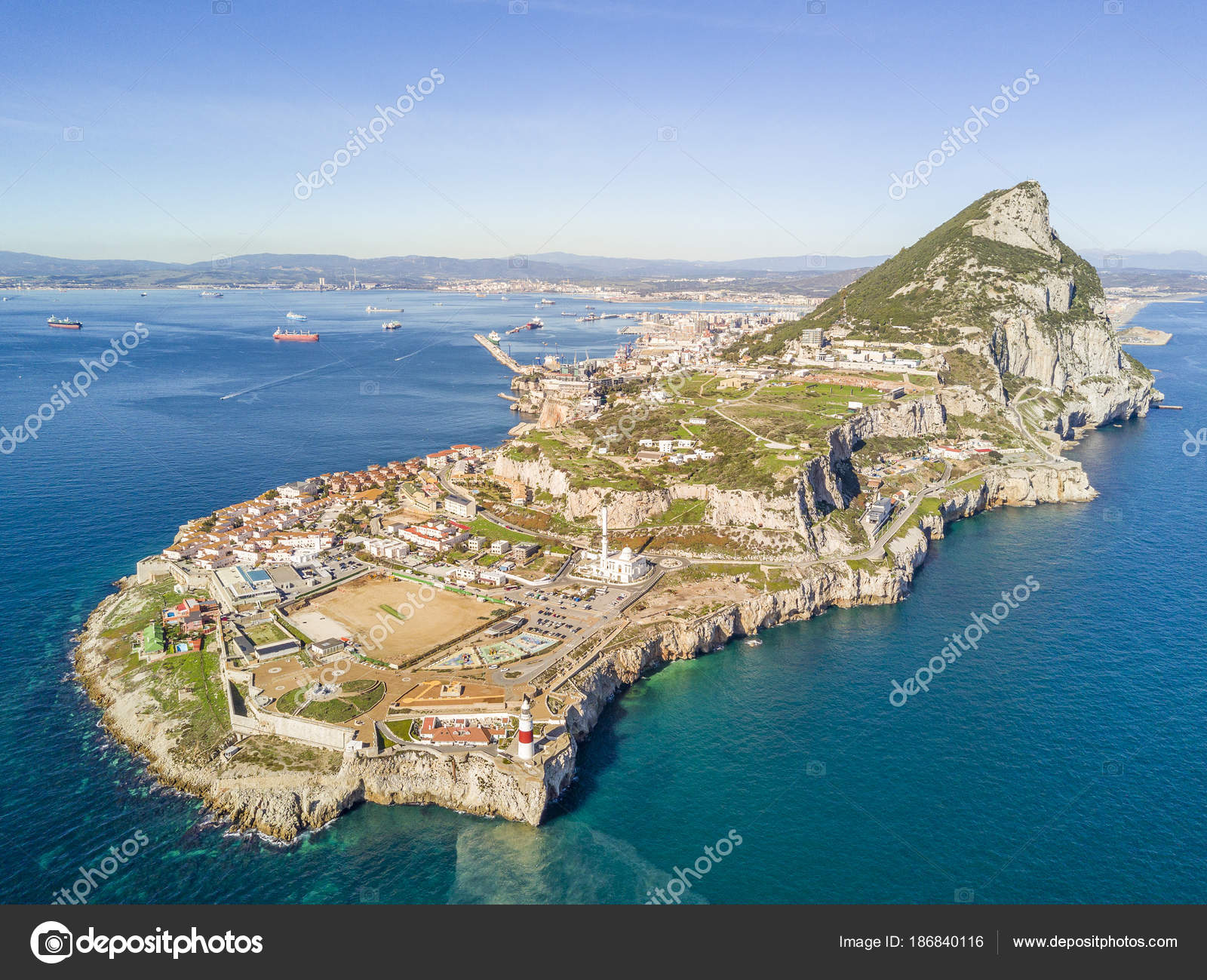 famous gibraltar rock on overseas british territory iberian pen