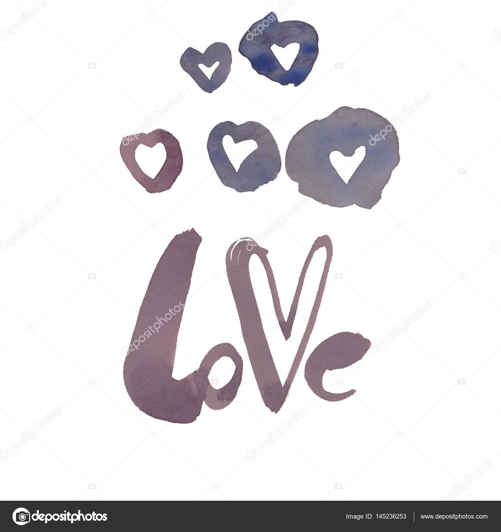 Sulu Boya Yazı Ve Kalp Işareti Stok Foto Burnosnata 145236253