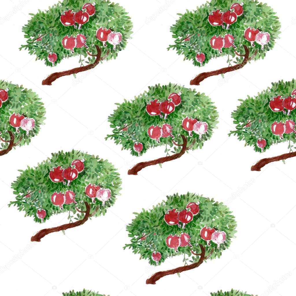 Pomegranate tree. Hand drawing watercolor seamless pattern. It can be used for print.