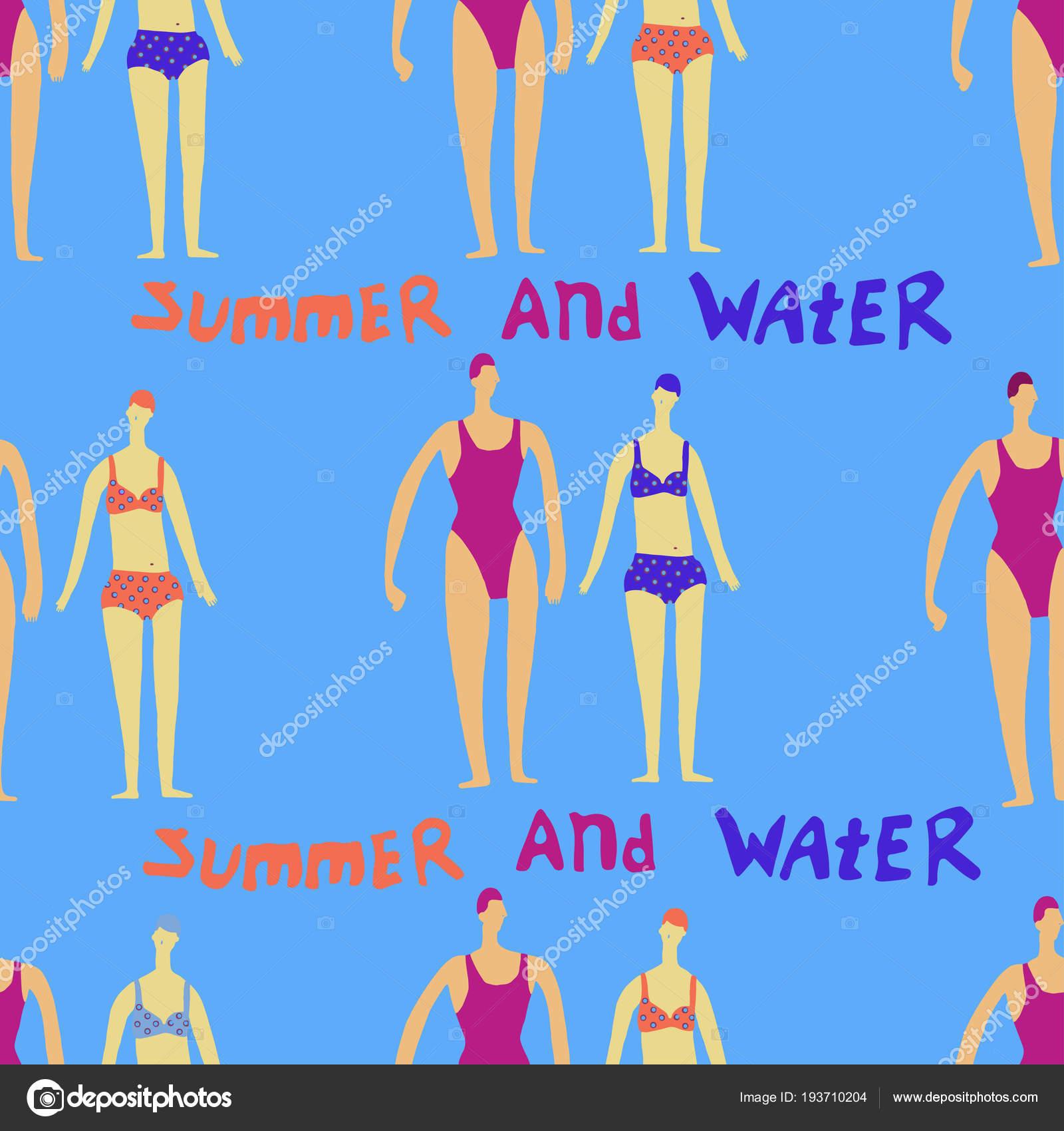 夏と水のテーマ ベクトル イラストのかわいい漫画男性と女性キャラクター