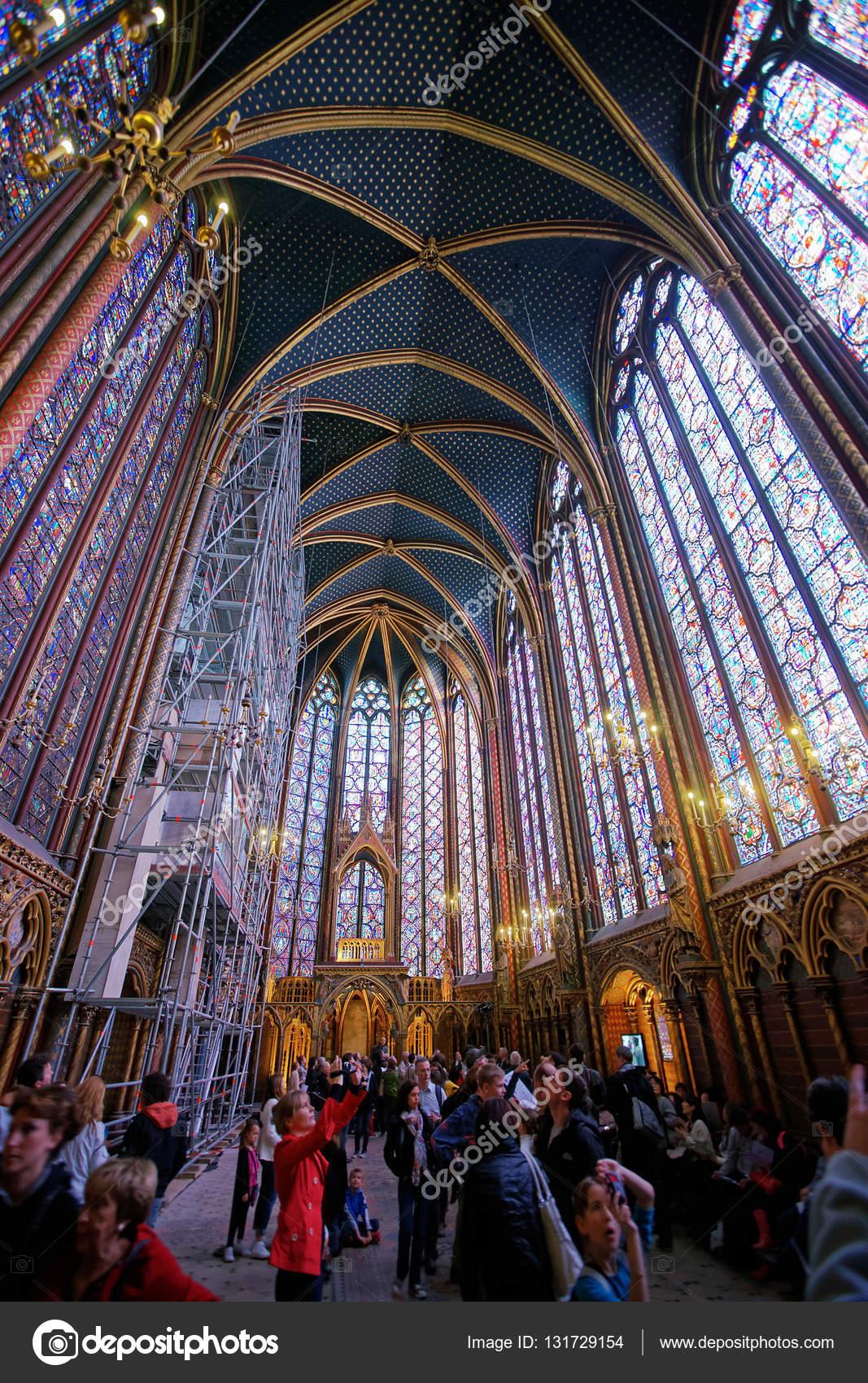 Interior Of Sainte Chapelle In Paris Stock Photo