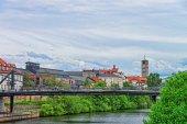 Fotografie Brücke über den Fluss Regnitz im kleinen Venedig-Bamberg