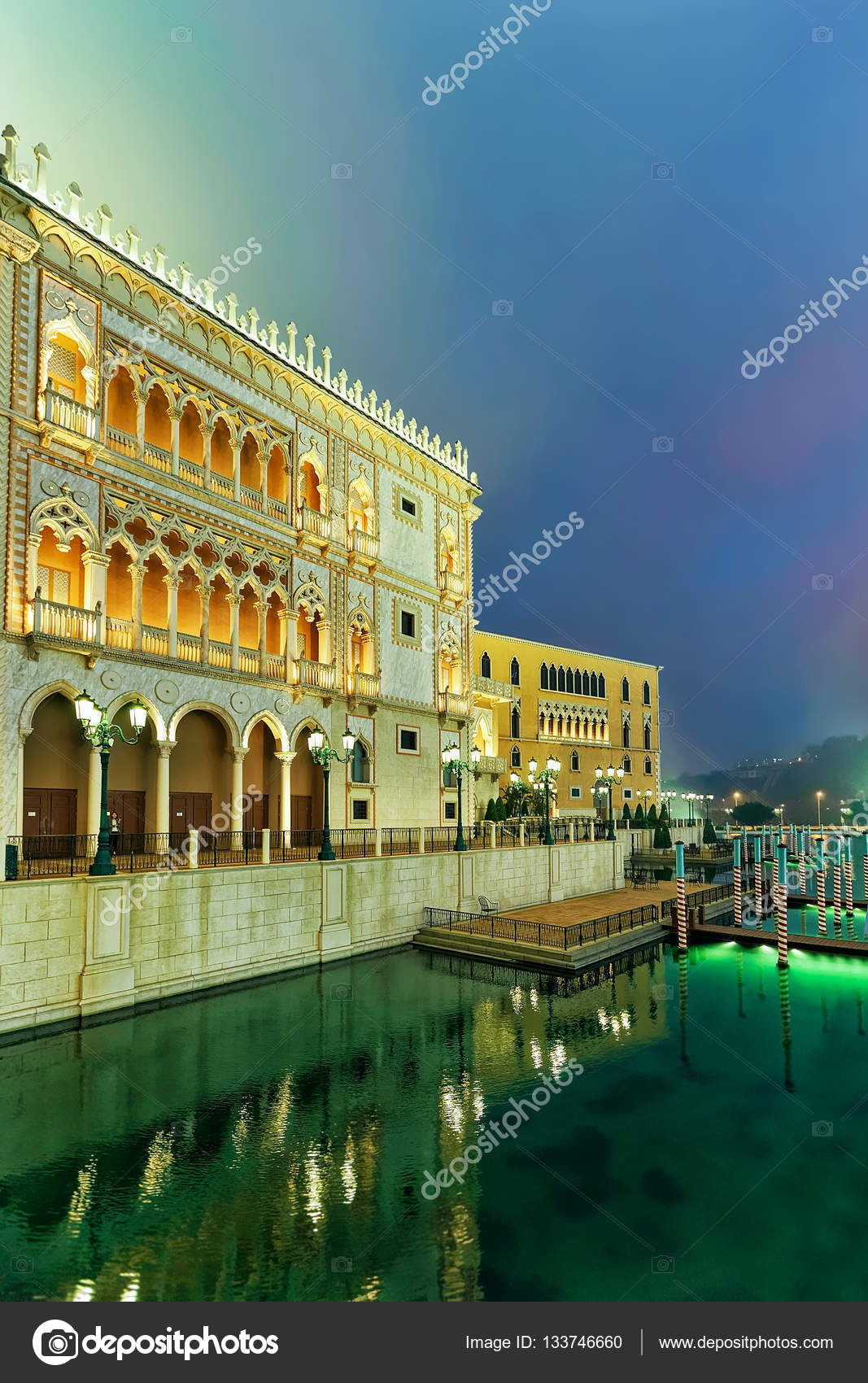 Venetian macao casino and hotel luxury resort macau golden light macao china march 8 2016 venetian macau casino and hotel luxury resort in macao china people on the background late in the evening thecheapjerseys Images
