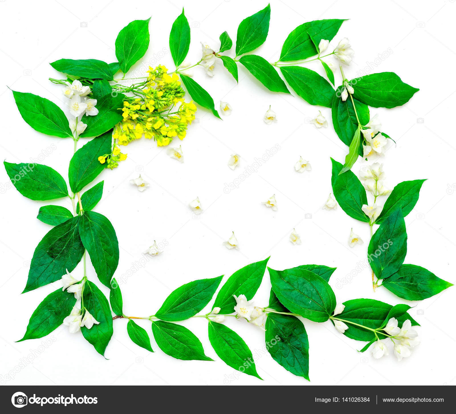 Wreath with jasmine flowers and yellow field flowers stock photo wreath with jasmine flowers and yellow field flowers stock photo izmirmasajfo