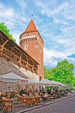 Tower and defensive Wall on Pijarska street in Krakow