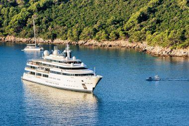 Luxury yacht at Lokrum Island of Adriatic Sea in Dubrovnik