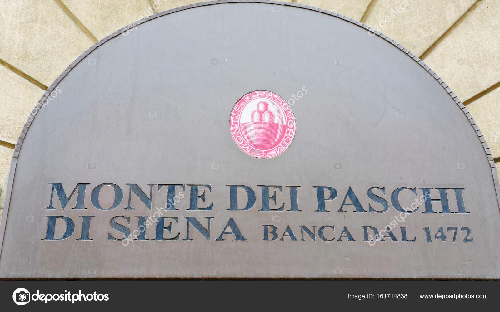 Entrance Sign On Monte Dei Paschi Di Siena Banca Stock Editorial