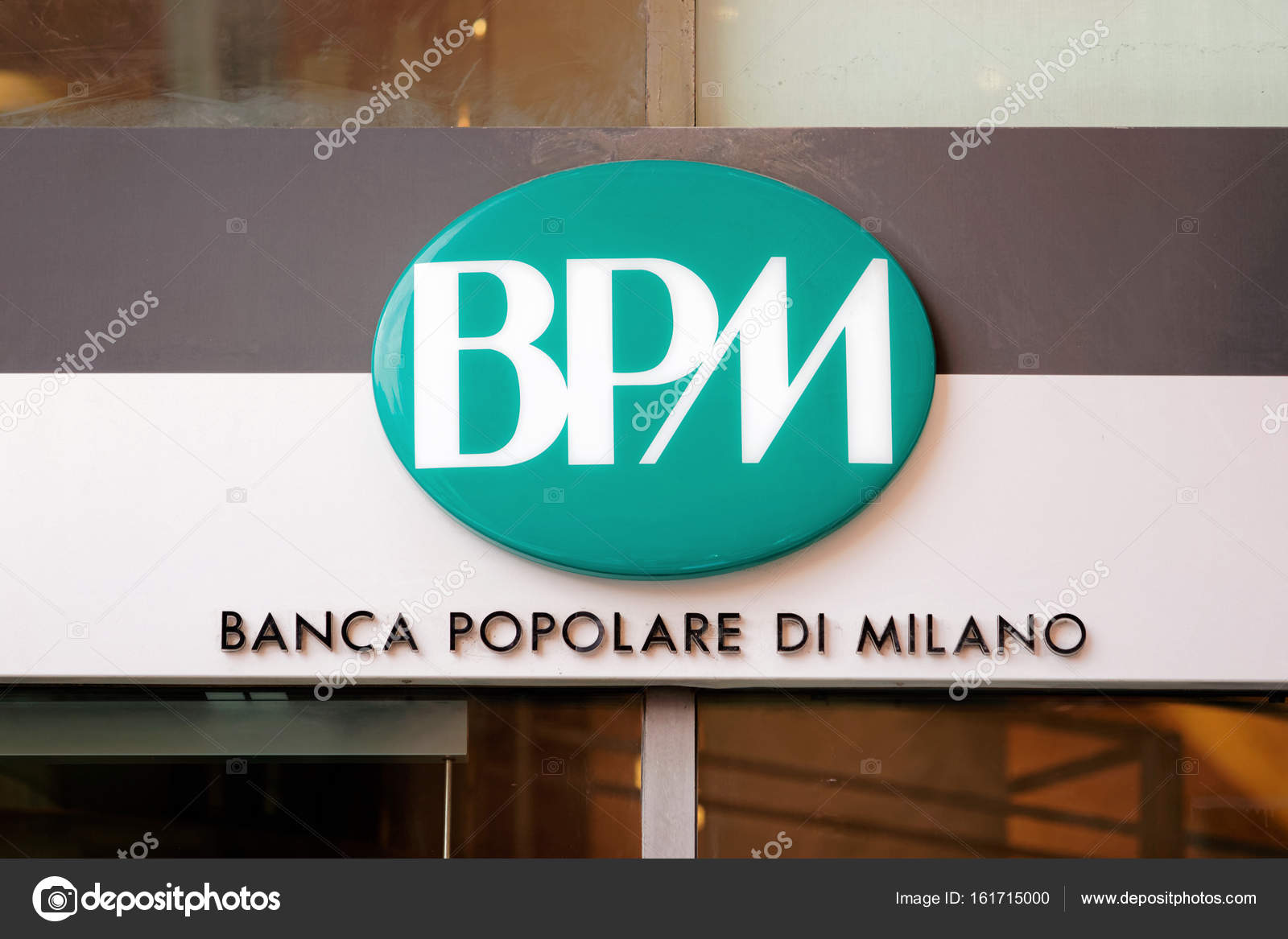 Entrance Plate Of Banca Popolare Di Milano Stock Editorial Photo