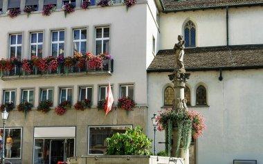 Fountain on Munzplatz square in old city of Zurich
