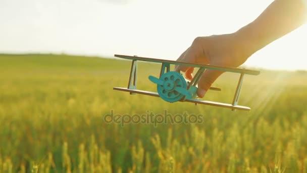 Detailní záběr záběr rukou chlapců hrát s malou dřevěnou letadlo v zelené pšeničné pole