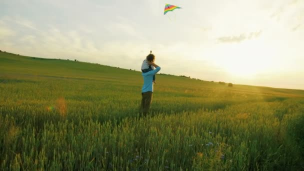 Happy young father holding his son on shoulders and playing with flying kite in green wheat field.