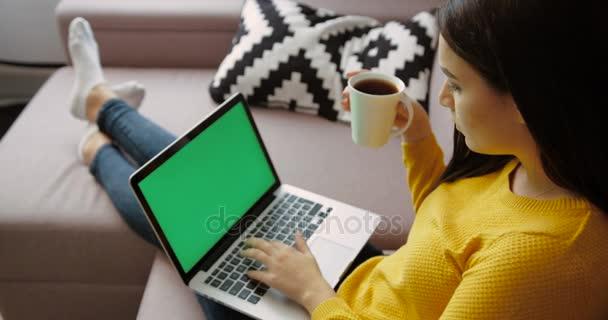 Krásná mladá žena pomocí přenosného pc s zelenou obrazovkou, pití kávy, zatímco sedí na gauči v obývacím pokoji. Pohled zezadu. Chroma klíč