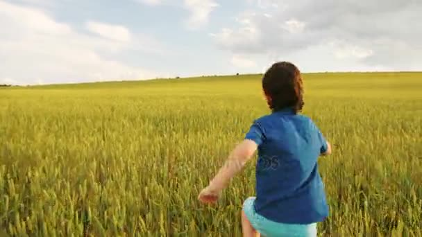 Young happy boy running throught the yellow field and ...