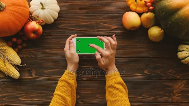 Von oben betrachtet lag die Herbstflache mit Kürbissen, Obst und Gemüse auf dem Holztisch. Frau blättert, tippt und zoomt Seiten auf weißem Smartphone mit grünem Bildschirm in horizontaler Position. Chroma