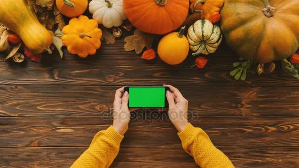 Žena, posouvání a klepnutím na dotykový displej černý smartphone s zelenou obrazovkou v horizontální poloze. Tabulka pohled shora s dýní na vrcholu. Podzimní kompozici. Chroma klíč
