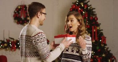Young couple in love. Attractive man giving a Christmas present to his charming girlfriend near the beautiful Christmas tree with lights in the living room. Indoor