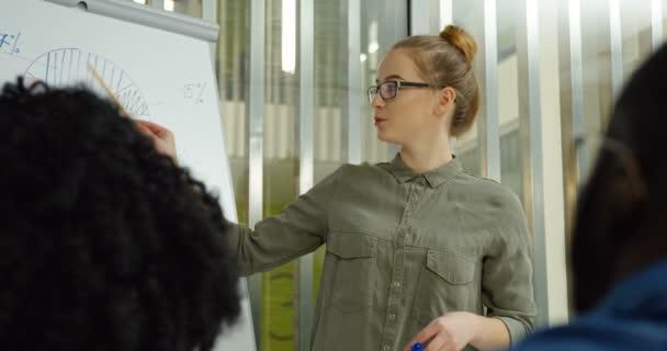 Portrét shot hezká blondýnka mladá žena v brýlích s diskusi s kolegy při kreslení na desce grafiku a grafy v útulné místnosti. Uvnitř