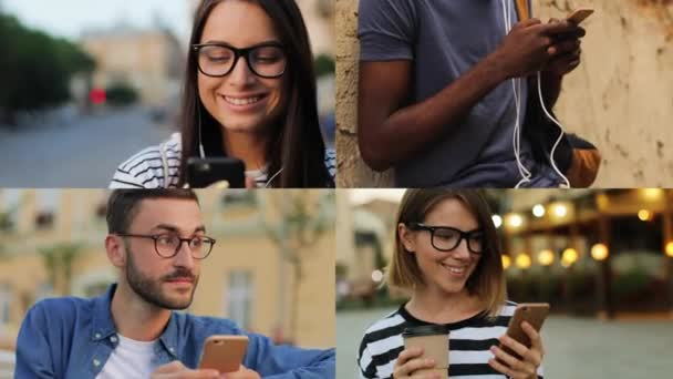 Multiscreen on diverse young multiethnic people tapping on phone on street. Handsome man sitting on bench and typing on smartphone outdoor. Girl listening to music in earphones. Female drinks coffee