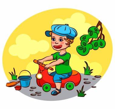 Boy child riding