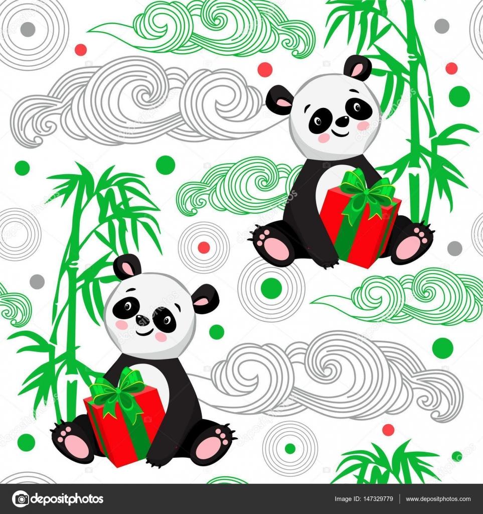 Patrón de bebé sin costuras con el Panda y el bastón — Vector de ...