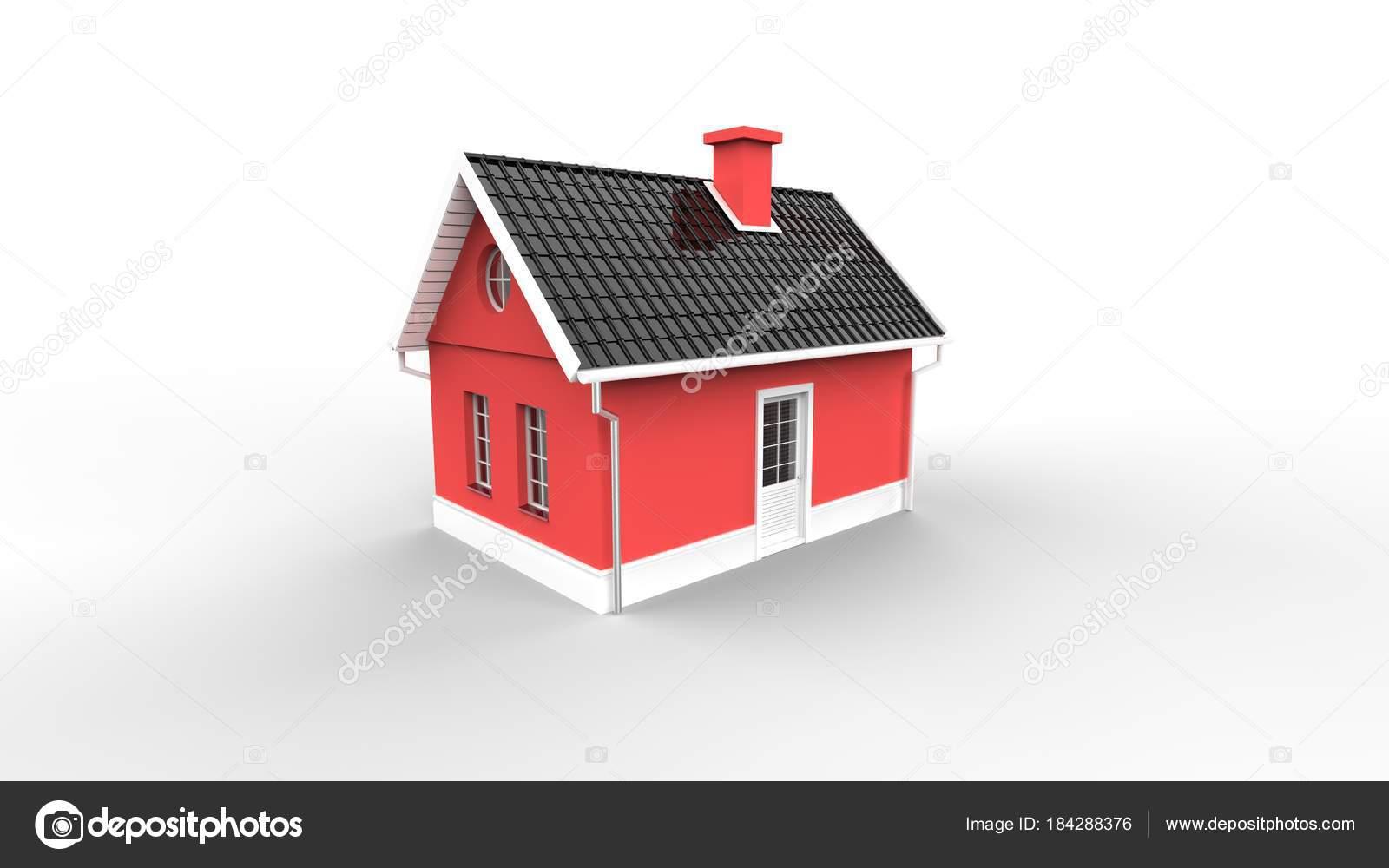 Rotes Haus Isoliert Auf Weiß Haus Design Lager — Stockfoto ...