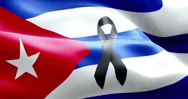 waving fabric texture of the flag of cuba, real texture color red blue and white of cuban flag with black ribbon