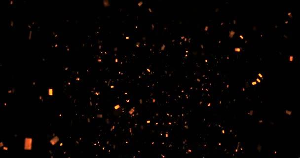 fallende gold Glitzer Glitzer Folie Konfetti, Animation auf schwarzem Hintergrund, frohes neues Jahr Urlaub und festlichen Spaß