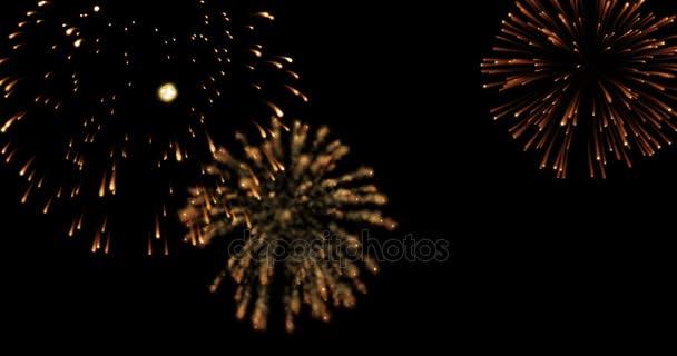 Zlatá abstraktní blikající sparkle oslavu ohňostroj světla na černém pozadí, slavnostní šťastný nový rok