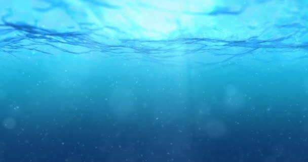 vysoká kvalita dokonale bezešvé smyčka temně modrý oceán vln z podvodní pozadí s mikro částice proudící