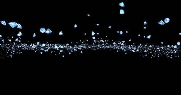 Silberglitzer funkeln Diamanten Partikel fließen auf schwarzem Hintergrund