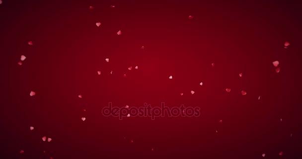 csökkenő Valentin nap piros szív alakú robbanás a vörös gradiens háttér, az alfa-csatorna Matt, holiday ünnepi Valentin napi szerelmes