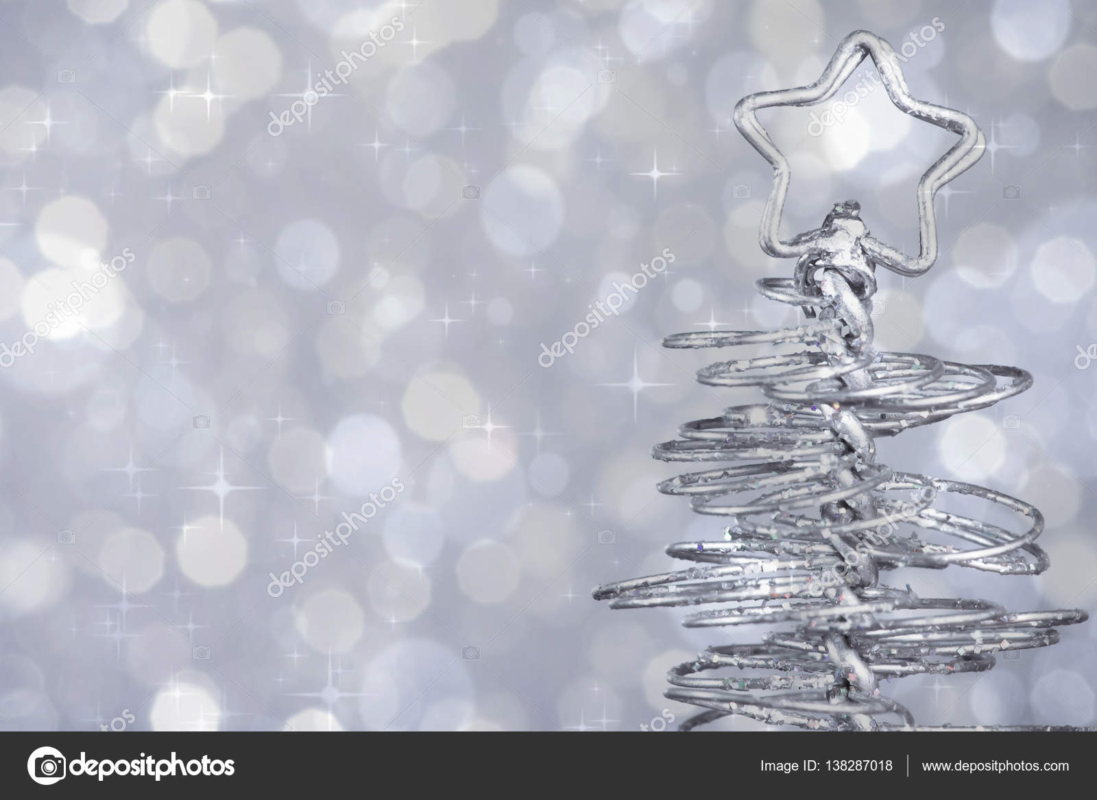 Metallic Modern Christmas Tree On Silver Tint Light Bokeh Background Xmas Holiday Stock Photo Image By C Donfiore1 138287018