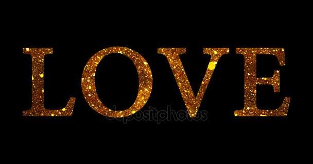 Zlatý třpyt sparkle částice milují tvar slova na černém pozadí, dovolená slavnostní valentine den lásky