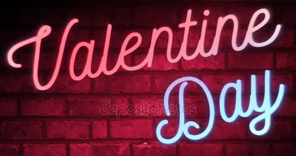 flickering blinking red and blue neon sign on red love brick wall background with alpha channel matte, valentine day holiday event festive sign