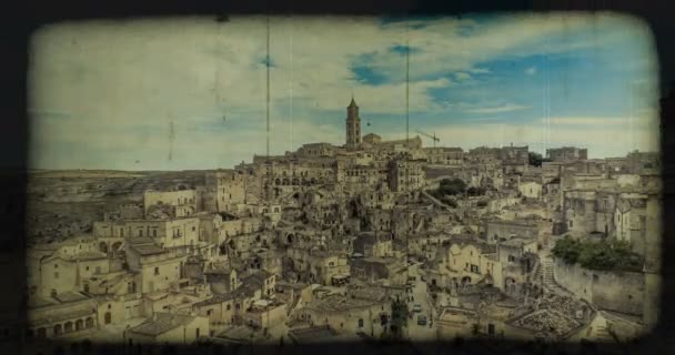 panoramic view of typical stones (Sassi di Matera) and church of Matera under blue sky, old vintage retro