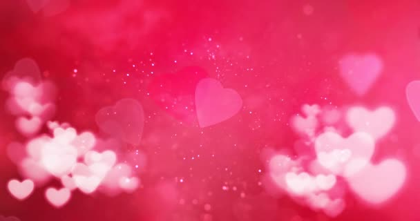 red and white bokeh heart on pink hearts shape background with particles sparkle glitter, valentine day love holiday event